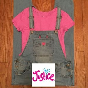 Justice Girls Cat Overalls Set size 12